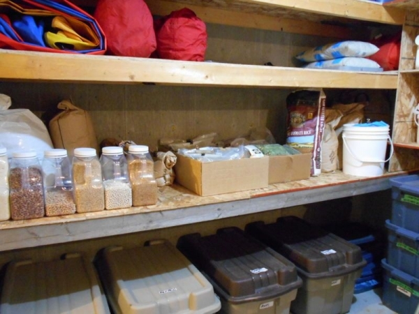 Storage on Shelves and in Plastic Totes